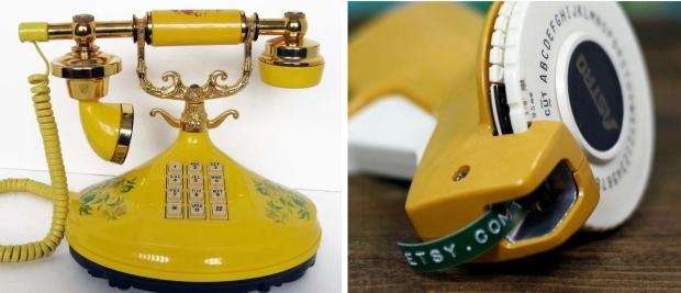 Victorian telephone and  vintage label maker