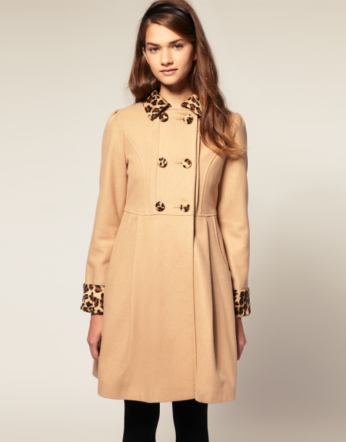 asos pleated leopard coat
