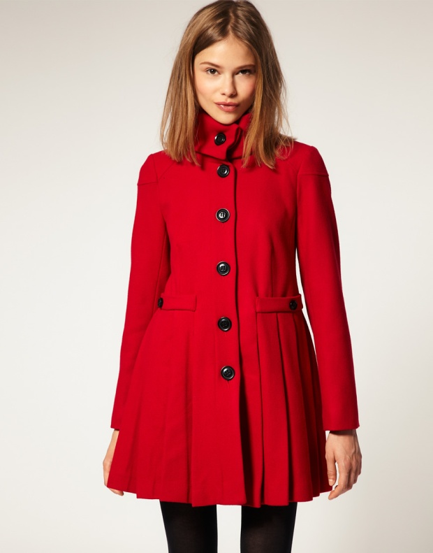 Pleated Coat With Fold Over Collar ASOS