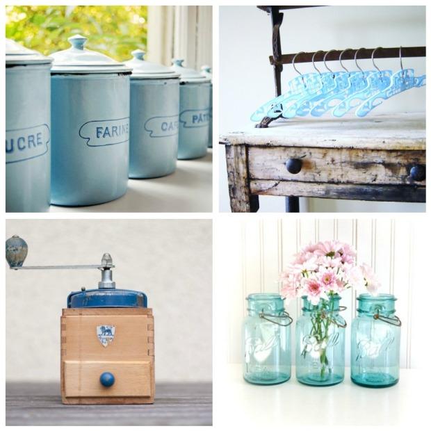 vintage blue collage