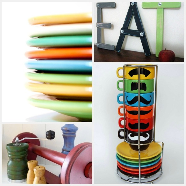 colorful kitchen collectibles collage