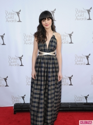 Zooey Deschanel plaid vintage gown