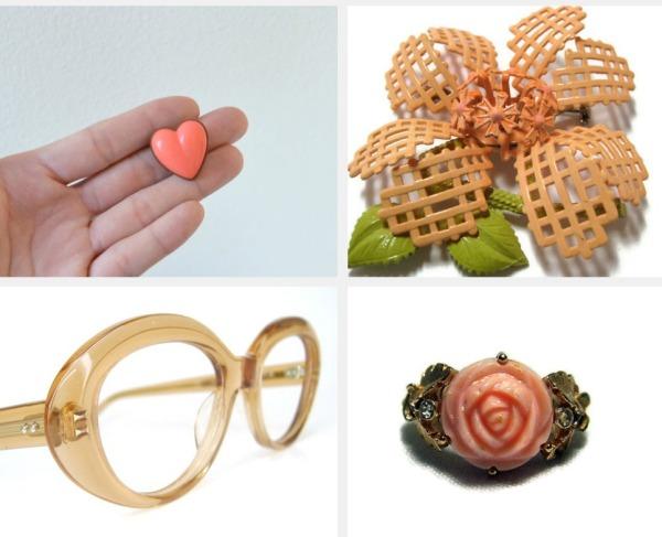 peach vintage accessories
