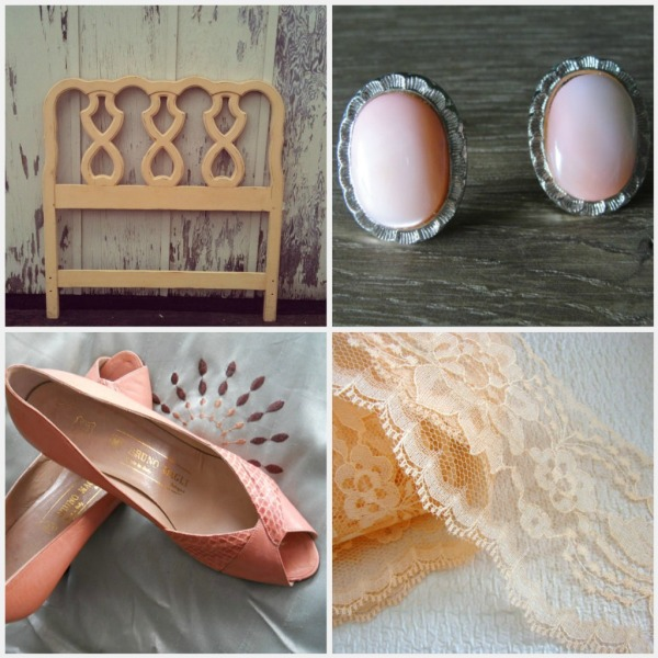 vintage peach earrings lace headboard